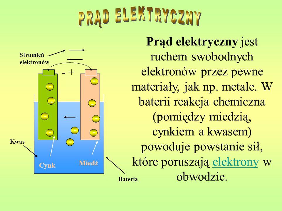 Prąd elektryczny jest ruchem swobodnych elektronów przez pewne materiały, jak np. metale. W baterii reakcja chemiczna (pomiędzy miedzią, cynkiem a kwa