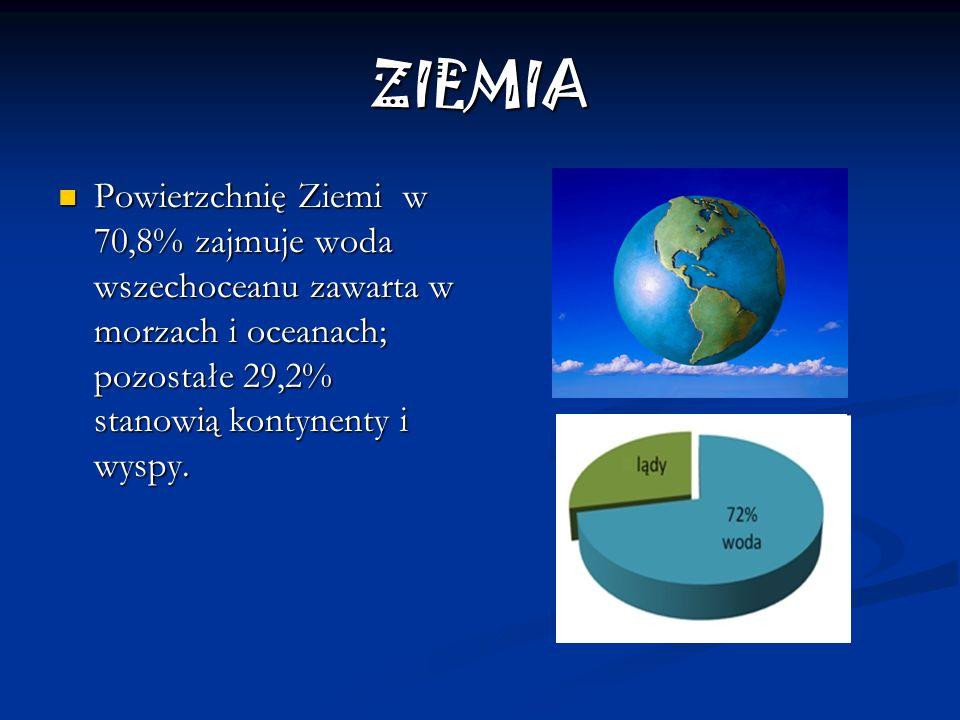 ZIEMIA Powierzchnię Ziemi w 70,8% zajmuje woda wszechoceanu zawarta w morzach i oceanach; pozostałe 29,2% stanowią kontynenty i wyspy.