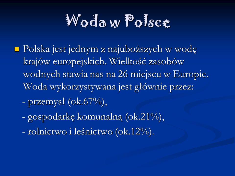 Woda w Polsce Polska jest jednym z najuboższych w wodę krajów europejskich.