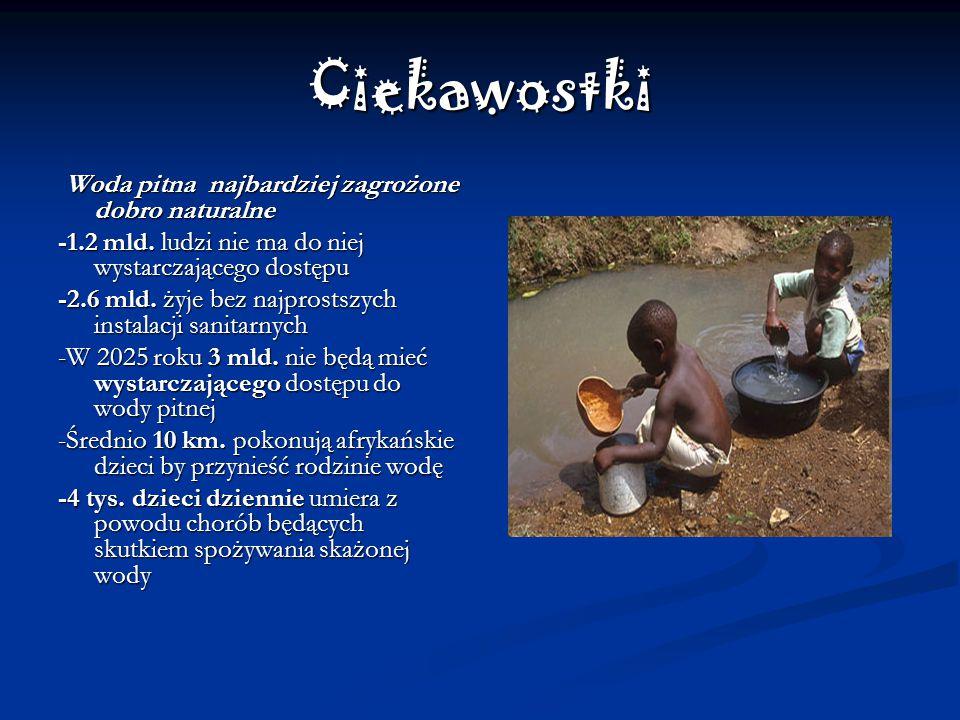 Ciekawostki Woda pitna najbardziej zagrożone dobro naturalne Woda pitna najbardziej zagrożone dobro naturalne -1.2 mld.