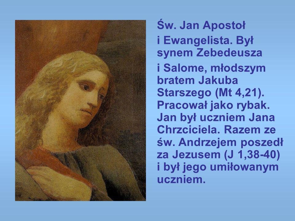 Św. Jan Apostoł i Ewangelista. Był synem Zebedeusza i Salome, młodszym bratem Jakuba Starszego (Mt 4,21). Pracował jako rybak. Jan był uczniem Jana Ch