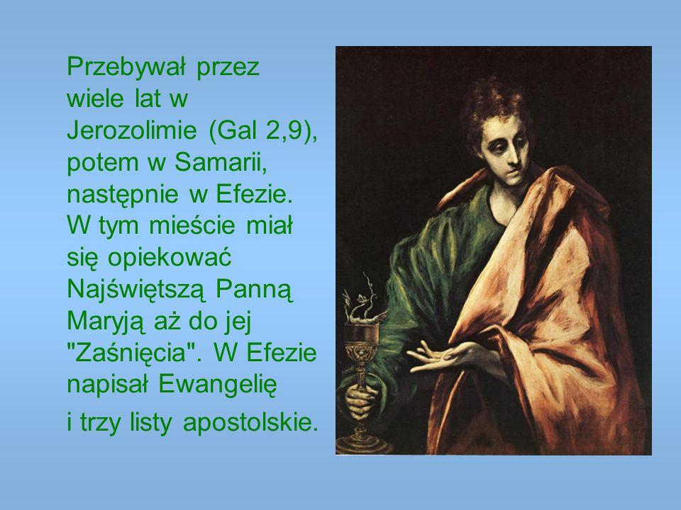 Przebywał przez wiele lat w Jerozolimie (Gal 2,9), potem w Samarii, następnie w Efezie. W tym mieście miał się opiekować Najświętszą Panną Maryją aż d