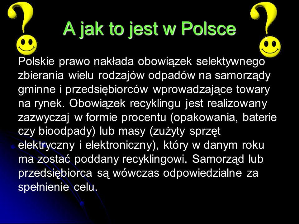 A jak to jest w Polsce Polskie prawo nakłada obowiązek selektywnego zbierania wielu rodzajów odpadów na samorządy gminne i przedsiębiorców wprowadzające towary na rynek.