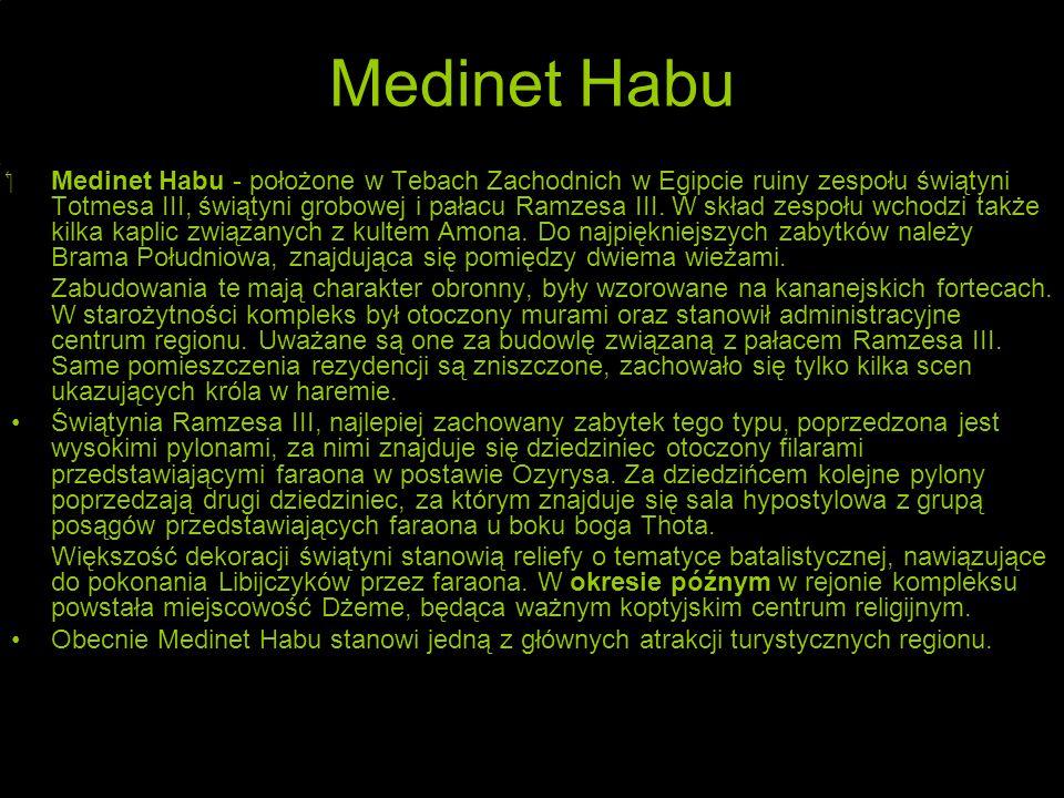 Medinet Habu Medinet Habu - położone w Tebach Zachodnich w Egipcie ruiny zespołu świątyni Totmesa III, świątyni grobowej i pałacu Ramzesa III.