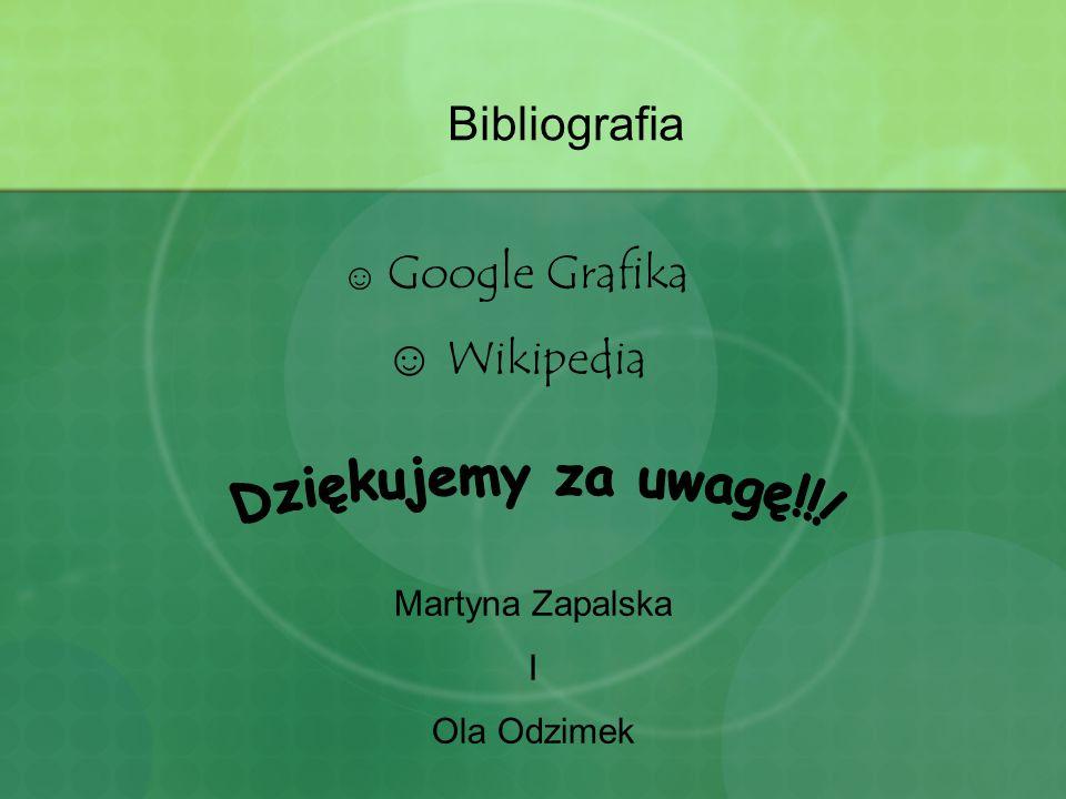 Bibliografia ☺ Google Grafika ☺ Wikipedia Martyna Zapalska I Ola Odzimek