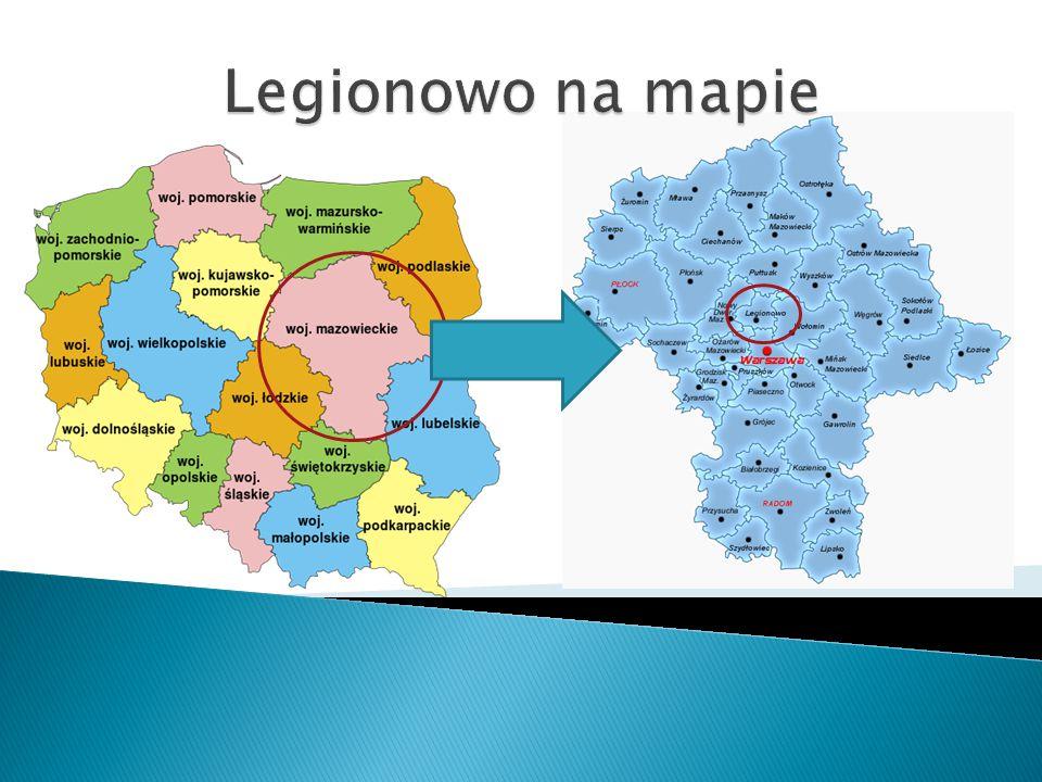 Legionowo – dane statystyczne Położenie geograficzne: - długość wschodnia 20 o 53 - 21 o 00 - szerokość północna 52 o 23 - 52 o 25 Wyniesienie: 75 - 85 m n.p.m.