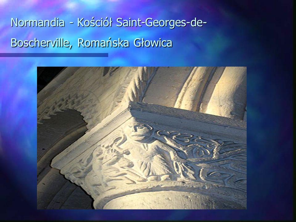 Normandia - Kościół Saint-Georges-de- Boscherville, Romańska Głowica