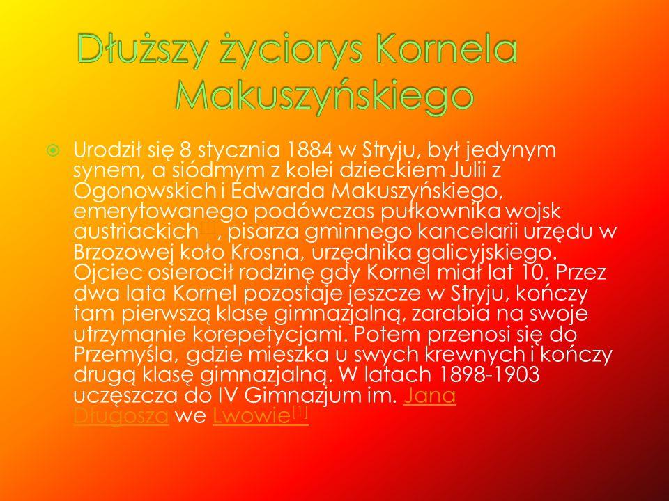  Urodził się 8 stycznia 1884 w Stryju, był jedynym synem, a siódmym z kolei dzieckiem Julii z Ogonowskich i Edwarda Makuszyńskiego, emerytowanego pod