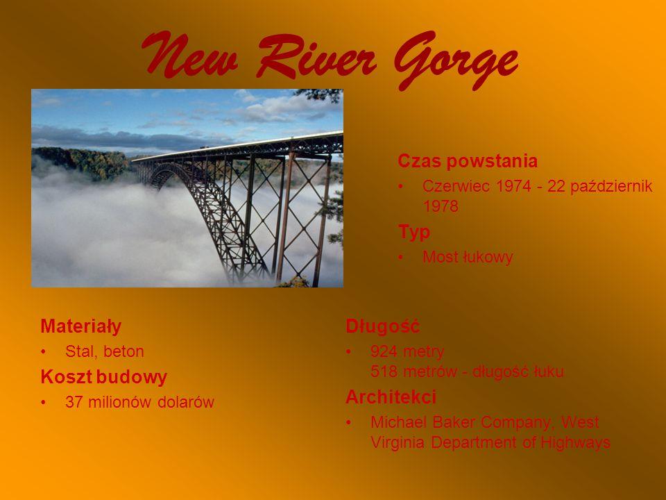 New River Gorge Czas powstania Czerwiec 1974 - 22 październik 1978 Typ Most łukowy Materiały Stal, beton Koszt budowy 37 milionów dolarów Długość 924