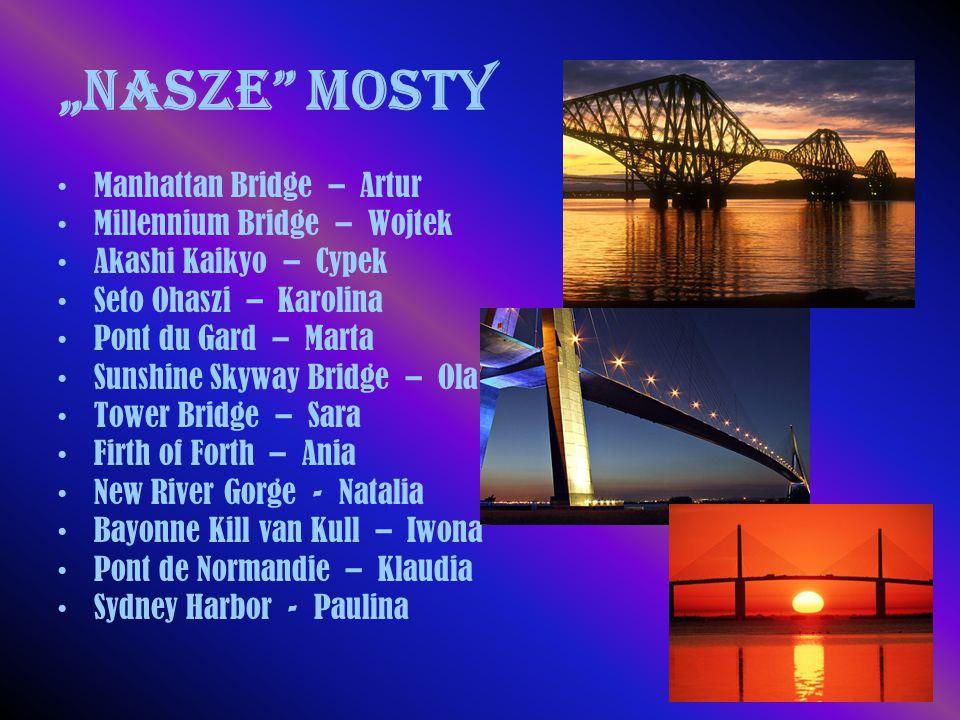 """Nasze"" mosty Manhattan Bridge – Artur Millennium Bridge – Wojtek Akashi Kaikyo – Cypek Seto Ohaszi – Karolina Pont du Gard – Marta Sunshine Skyway Br"