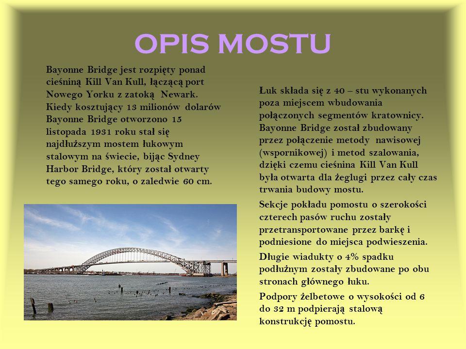 OPIS MOSTU Bayonne Bridge jest rozpi ę ty ponad cie ś nin ą Kill Van Kull, łą cz ą c ą port Nowego Yorku z zatok ą Newark. Kiedy kosztuj ą cy 13 milio