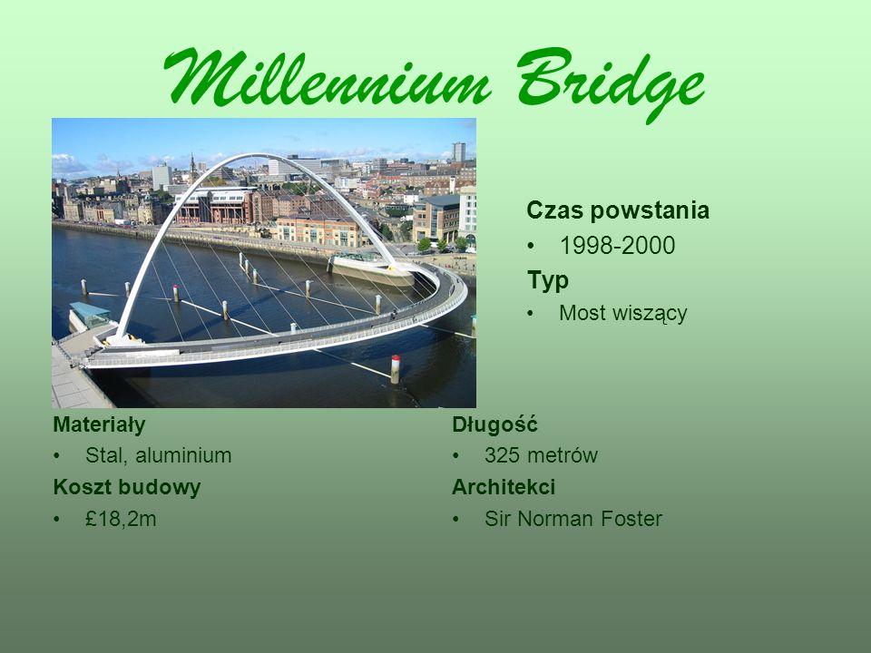 Millennium Bridge Czas powstania 1998-2000 Typ Most wiszący Materiały Stal, aluminium Koszt budowy £18,2m Długość 325 metrów Architekci Sir Norman Fos