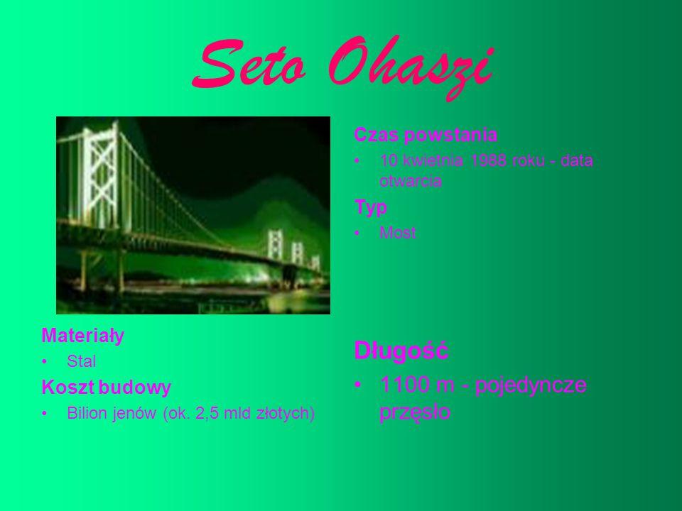 Seto Ohaszi Czas powstania 10 kwietnia 1988 roku - data otwarcia Typ Most Materiały Stal Koszt budowy Bilion jenów (ok. 2,5 mld złotych) Długość 1100