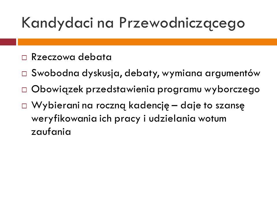 Kandydaci na Przewodniczącego  Rzeczowa debata  Swobodna dyskusja, debaty, wymiana argumentów  Obowiązek przedstawienia programu wyborczego  Wybierani na roczną kadencję – daje to szansę weryfikowania ich pracy i udzielania wotum zaufania