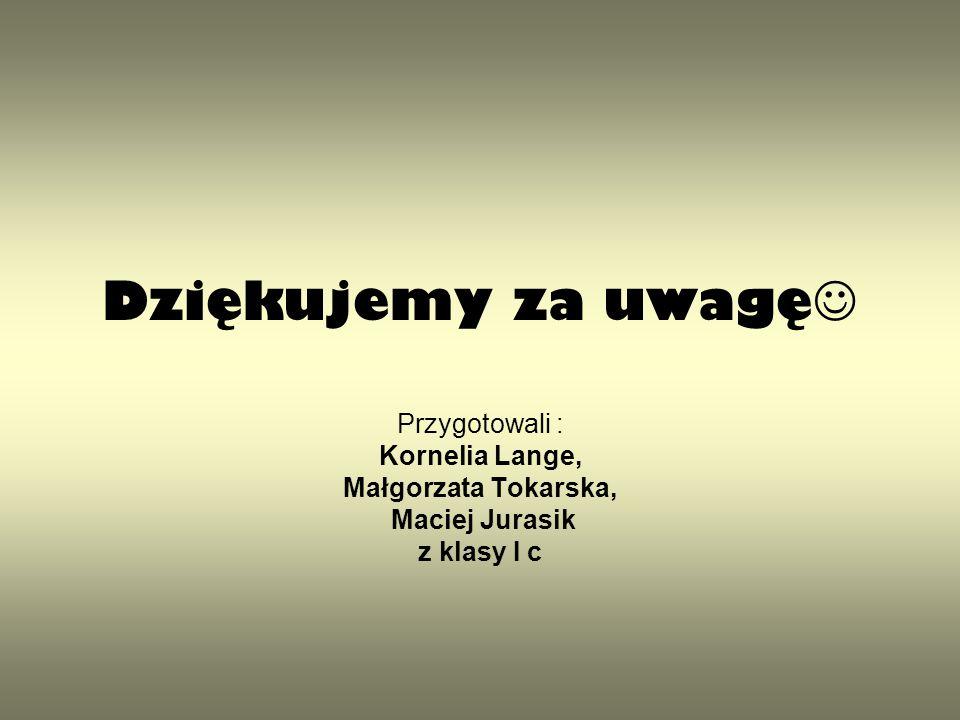 Dziękujemy za uwagę Przygotowali : Kornelia Lange, Małgorzata Tokarska, Maciej Jurasik z klasy I c