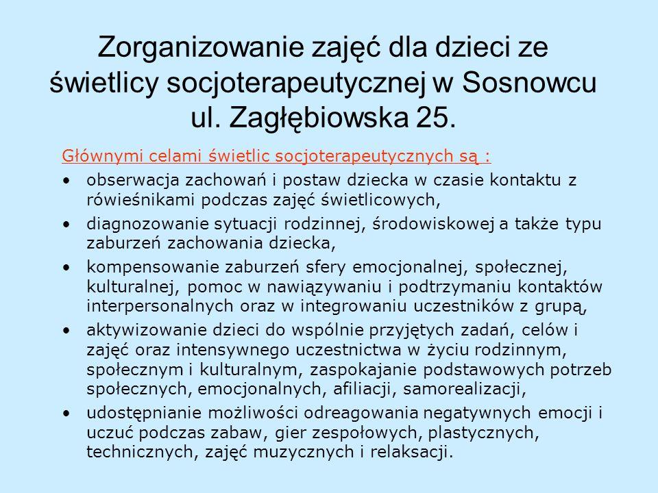 Zorganizowanie zajęć dla dzieci ze świetlicy socjoterapeutycznej w Sosnowcu ul.