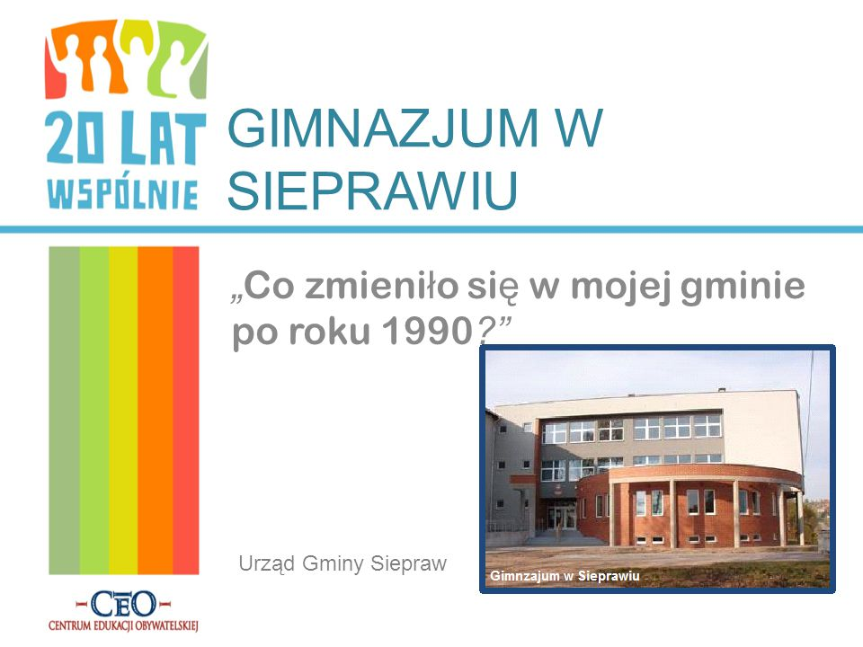 """GIMNAZJUM W SIEPRAWIU """" Co zmieni ł o si ę w mojej gminie po roku 1990 ? Urząd Gminy Siepraw"""