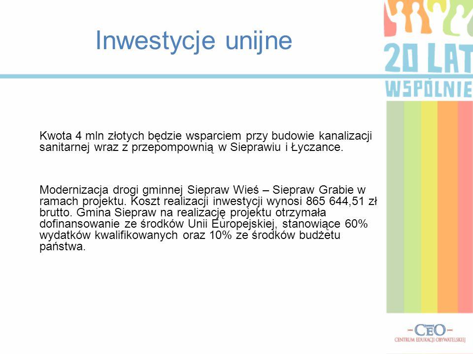 Inwestycje unijne Kwota 4 mln złotych będzie wsparciem przy budowie kanalizacji sanitarnej wraz z przepompownią w Sieprawiu i Łyczance. Modernizacja d