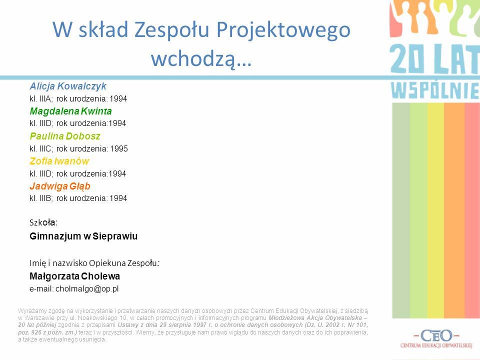 Alicja Kowalczyk kl. IIIA; rok urodzenia: 1994 Magdalena Kwinta kl. IIID; rok urodzenia:1994 Paulina Dobosz kl. IIIC; rok urodzenia: 1995 Zofia Iwanów