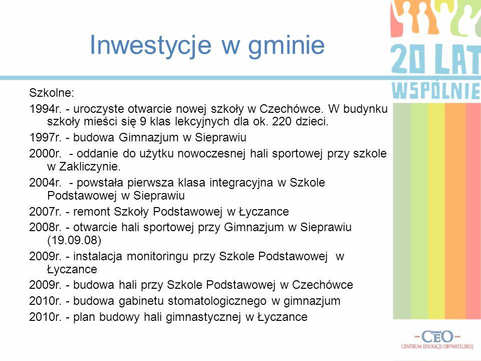 Inwestycje w gminie Szkolne: 1994r. - uroczyste otwarcie nowej szkoły w Czechówce. W budynku szkoły mieści się 9 klas lekcyjnych dla ok. 220 dzieci. 1