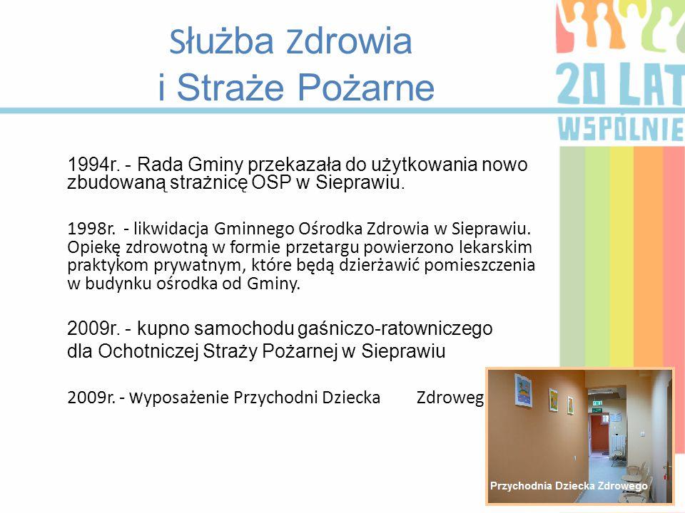 S łużba Z drowia i Straże Pożarne 1994r. - Rada Gminy przekazała do użytkowania nowo zbudowaną strażnicę OSP w Sieprawiu. 1998r. - likwidacja Gminnego