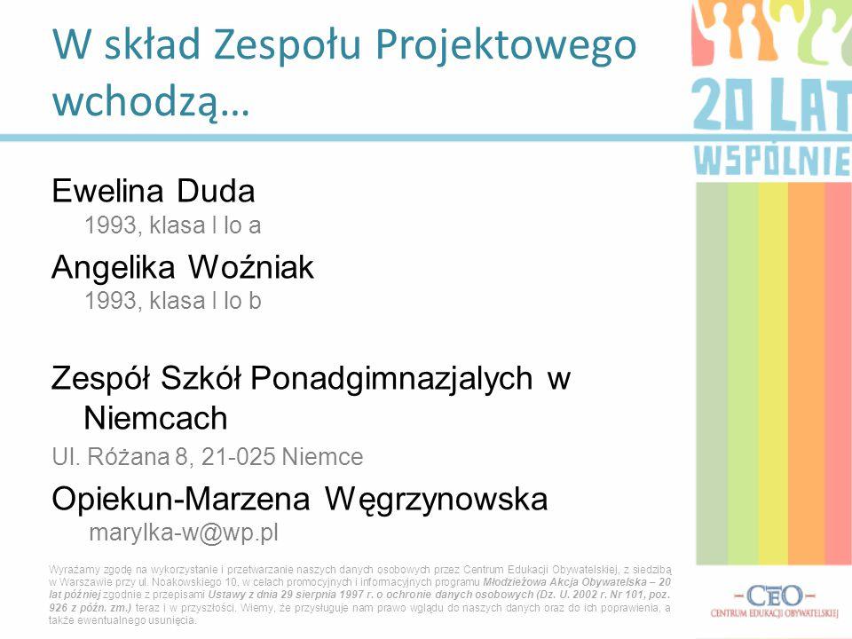 Ewelina Duda 1993, klasa I lo a Angelika Woźniak 1993, klasa I lo b Zespół Szkół Ponadgimnazjalych w Niemcach Ul. Różana 8, 21-025 Niemce Opiekun-Marz