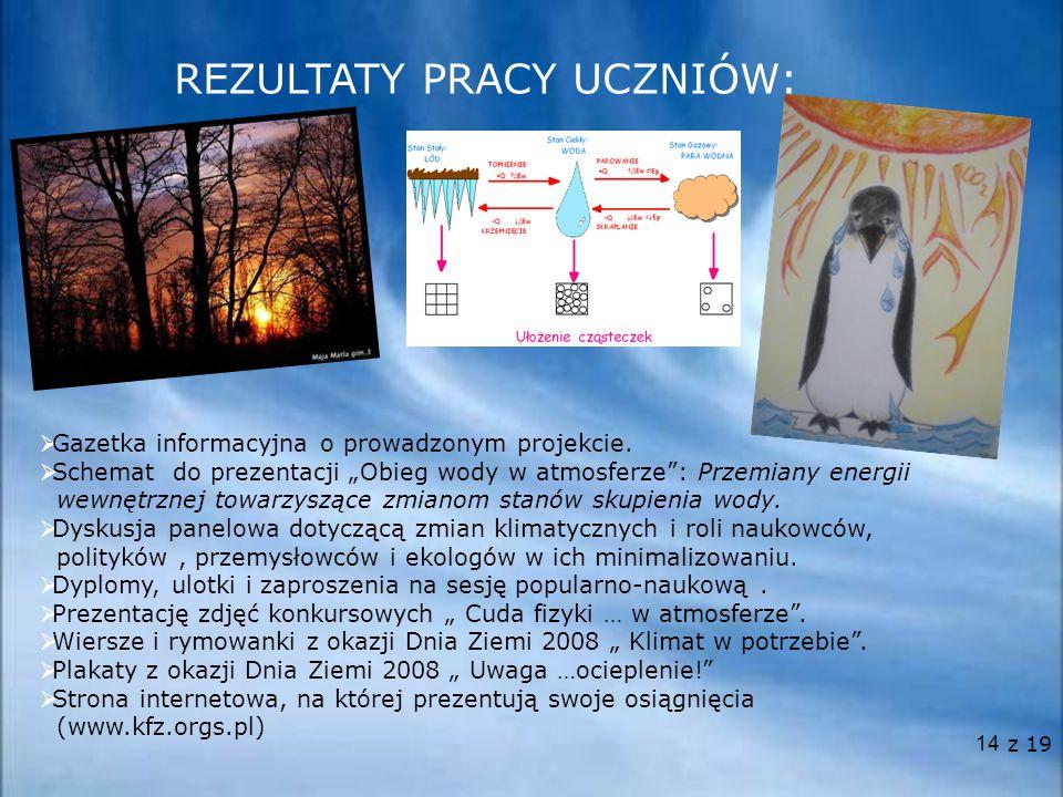 """14 REZULTATY PRACY UCZNIÓW:  Gazetka informacyjna o prowadzonym projekcie.  Schemat do prezentacji """"Obieg wody w atmosferze"""": Przemiany energii wewn"""