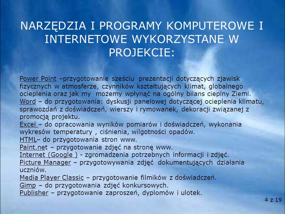 4 NARZĘDZIA I PROGRAMY KOMPUTEROWE I INTERNETOWE WYKORZYSTANE W PROJEKCIE: Power Point –przygotowanie sześciu prezentacji dotyczących zjawisk fizyczny