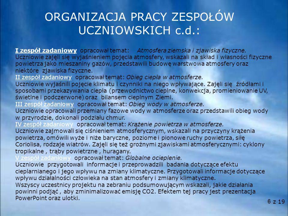 7  Konsultacje w sprawach merytorycznych. Pomoc w przygotowaniu doświadczeń i obserwacji.