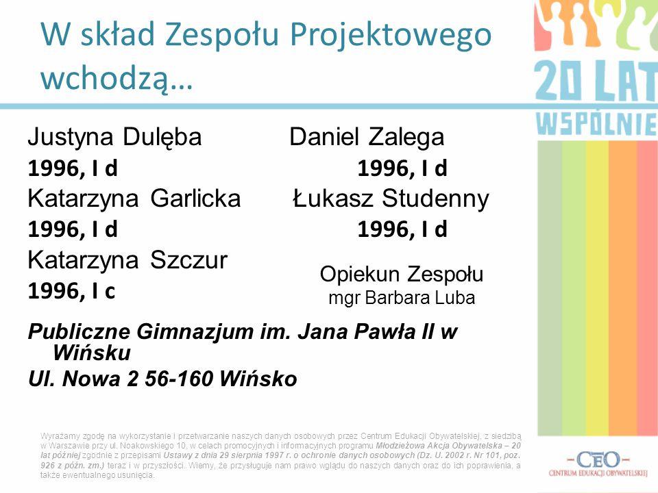 Justyna Dulęba Daniel Zalega 1996, I d Katarzyna Garlicka Łukasz Studenny 1996, I d Katarzyna Szczur 1996, I c Publiczne Gimnazjum im. Jana Pawła II w