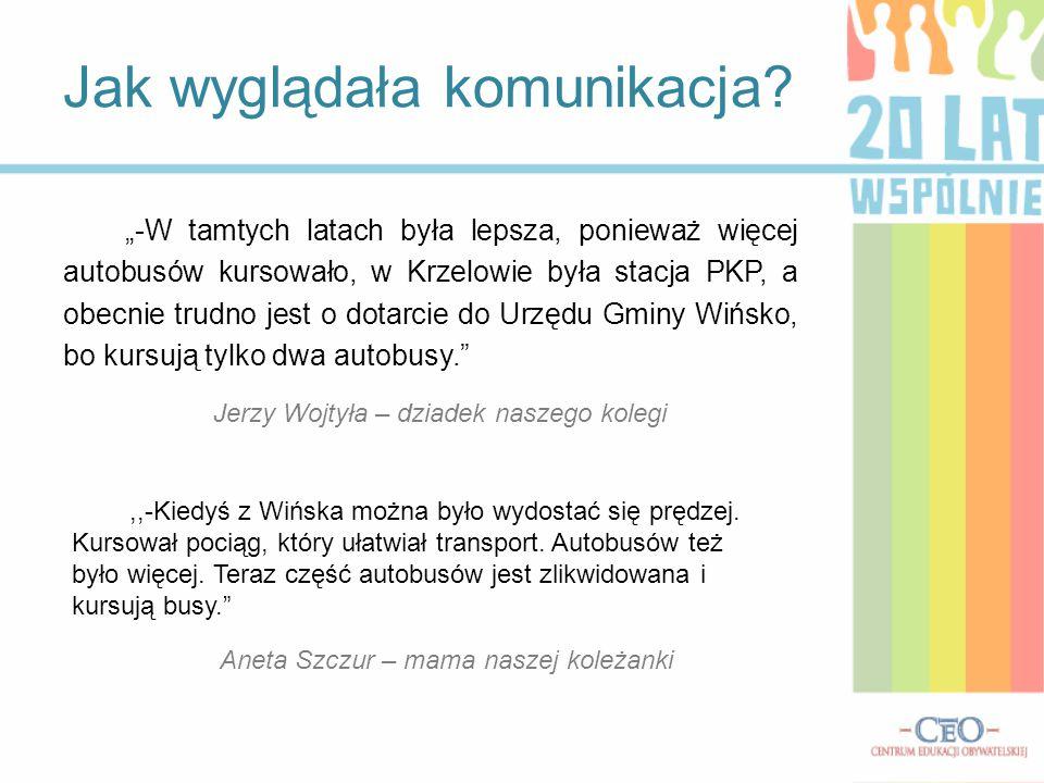 """""""-W tamtych latach była lepsza, ponieważ więcej autobusów kursowało, w Krzelowie była stacja PKP, a obecnie trudno jest o dotarcie do Urzędu Gminy Wiń"""