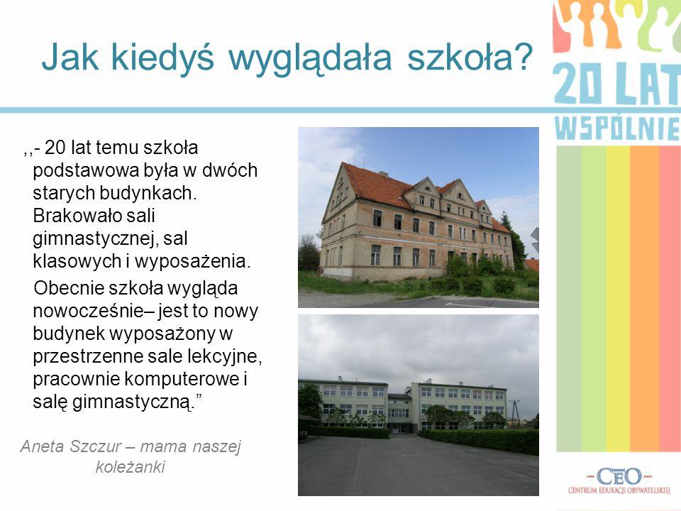 Jak kiedyś wyglądała szkoła? Aneta Szczur – mama naszej koleżanki,,- 20 lat temu szkoła podstawowa była w dwóch starych budynkach. Brakowało sali gimn