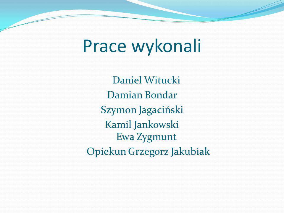 Prace wykonali Daniel Witucki Damian Bondar Szymon Jagaciński Kamil Jankowski Ewa Zygmunt Opiekun Grzegorz Jakubiak