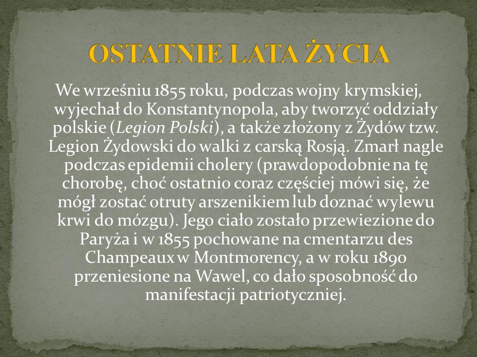 We wrześniu 1855 roku, podczas wojny krymskiej, wyjechał do Konstantynopola, aby tworzyć oddziały polskie (Legion Polski), a także złożony z Żydów tzw