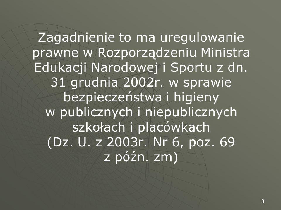 3 Zagadnienie to ma uregulowanie prawne w Rozporządzeniu Ministra Edukacji Narodowej i Sportu z dn. 31 grudnia 2002r. w sprawie bezpieczeństwa i higie