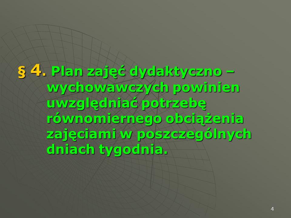 4 § 4. Plan zajęć dydaktyczno – wychowawczych powinien uwzględniać potrzebę równomiernego obciążenia zajęciami w poszczególnych dniach tygodnia.