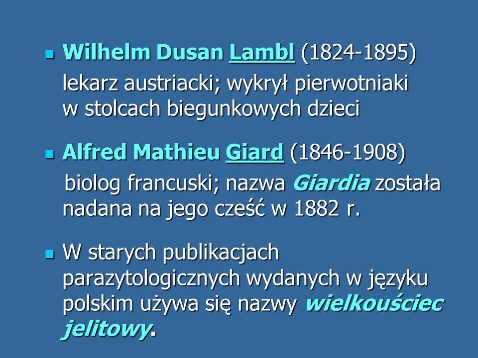 Wilhelm Dusan Lambl (1824-1895) Wilhelm Dusan Lambl (1824-1895) lekarz austriacki; wykrył pierwotniaki w stolcach biegunkowych dzieci Alfred Mathieu G
