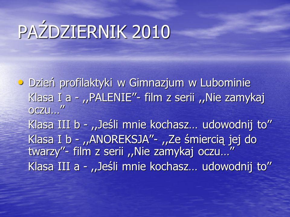 PAŹDZIERNIK 2010 Dzień profilaktyki w Gimnazjum w Lubominie Dzień profilaktyki w Gimnazjum w Lubominie Klasa I a -,,PALENIE''- film z serii,,Nie zamyk