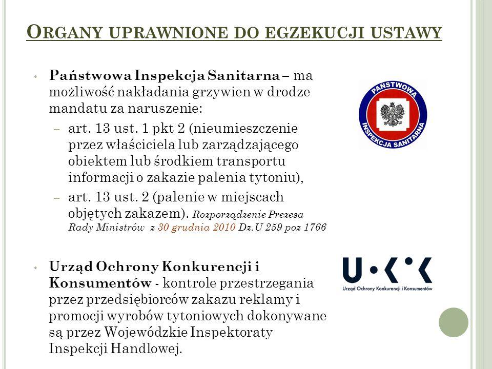 O RGANY UPRAWNIONE DO EGZEKUCJI USTAWY Państwowa Inspekcja Sanitarna – ma możliwość nakładania grzywien w drodze mandatu za naruszenie: – art.