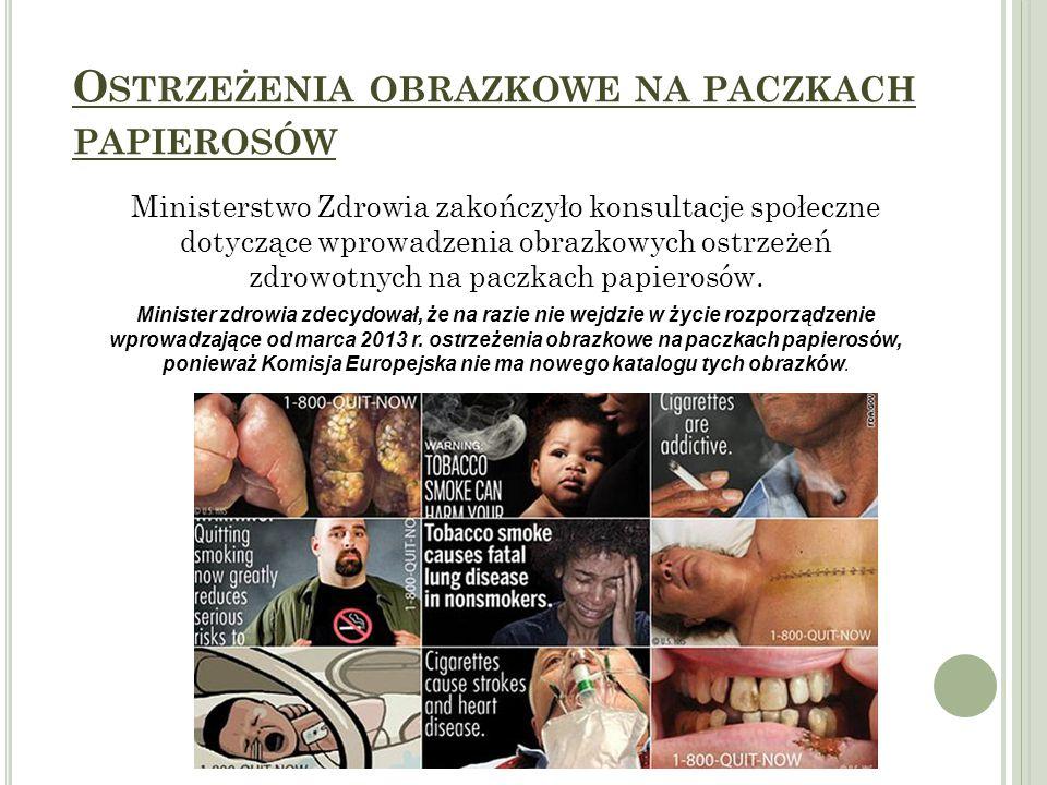 O STRZEŻENIA OBRAZKOWE NA PACZKACH PAPIEROSÓW Ministerstwo Zdrowia zakończyło konsultacje społeczne dotyczące wprowadzenia obrazkowych ostrzeżeń zdrowotnych na paczkach papierosów.