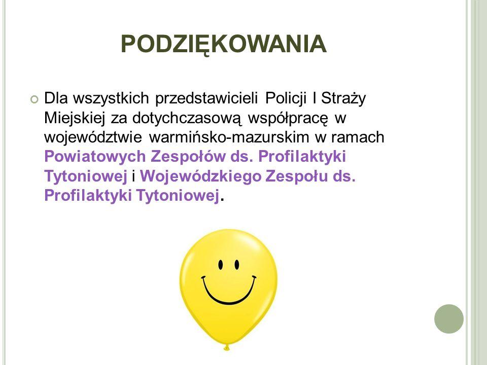 PODZIĘKOWANIA Dla wszystkich przedstawicieli Policji I Straży Miejskiej za dotychczasową współpracę w województwie warmińsko-mazurskim w ramach Powiatowych Zespołów ds.