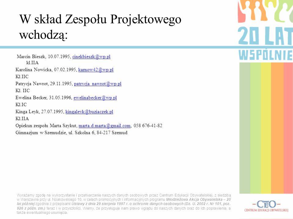W skład Zespołu Projektowego wchodzą: Marcin Bieszk, 10.07.1995, cinekbieszk@wp.pl kl.IIAcinekbieszk@wp.pl Karolina Nowicka, 07.02.1995, karnow42@wp.p