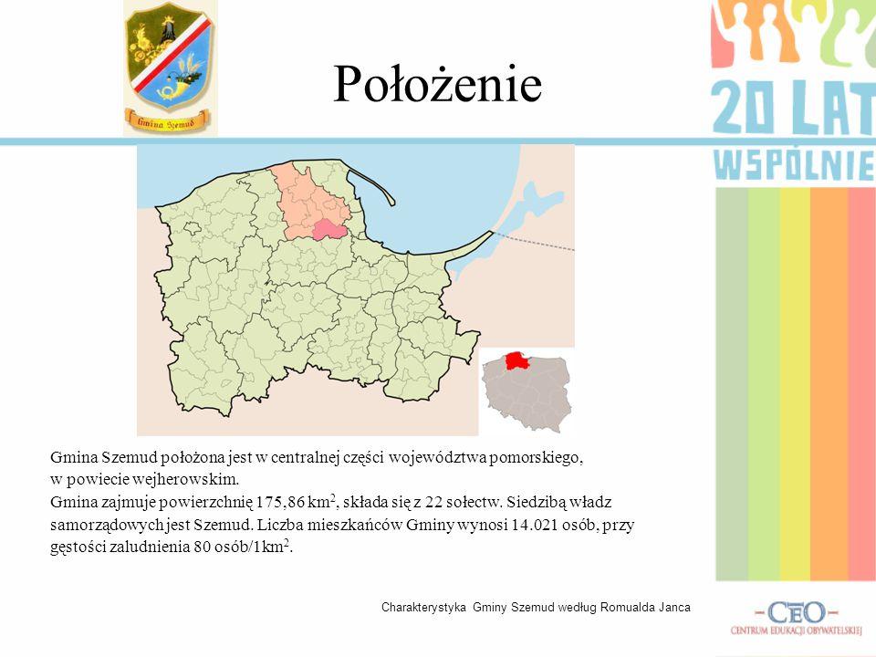 Położenie Gmina Szemud położona jest w centralnej części województwa pomorskiego, w powiecie wejherowskim. Gmina zajmuje powierzchnię 175,86 km 2, skł