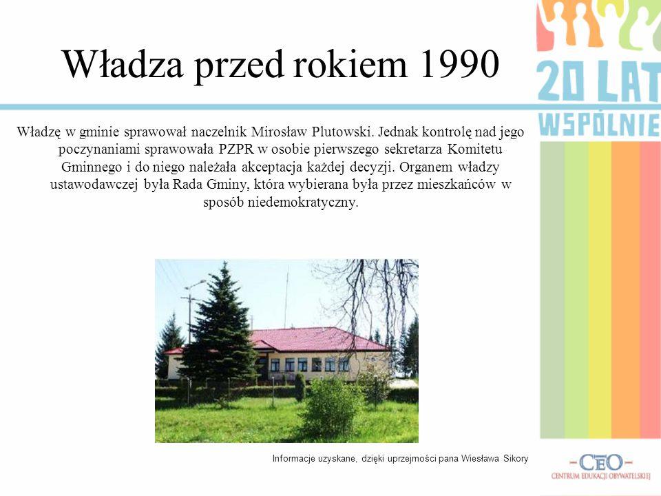 Władza przed rokiem 1990 Władzę w gminie sprawował naczelnik Mirosław Plutowski. Jednak kontrolę nad jego poczynaniami sprawowała PZPR w osobie pierws