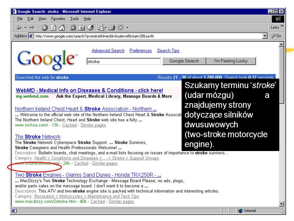 Szukamy terminu 'stroke' (udar mózgu) a znajdujemy strony dotyczące silników dwusuwowych (two-stroke motorcycle engine).