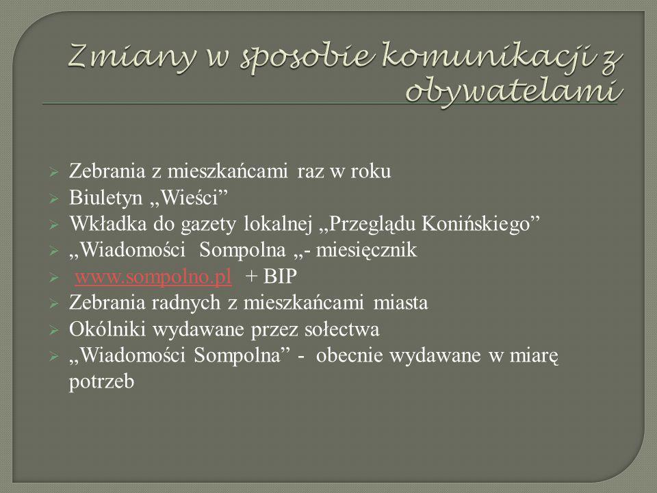 """ Zebrania z mieszkańcami raz w roku  Biuletyn """"Wieści  Wkładka do gazety lokalnej """"Przeglądu Konińskiego  """"Wiadomości Sompolna """"- miesięcznik  www.sompolno.pl + BIPwww.sompolno.pl  Zebrania radnych z mieszkańcami miasta  Okólniki wydawane przez sołectwa  """"Wiadomości Sompolna - obecnie wydawane w miarę potrzeb"""