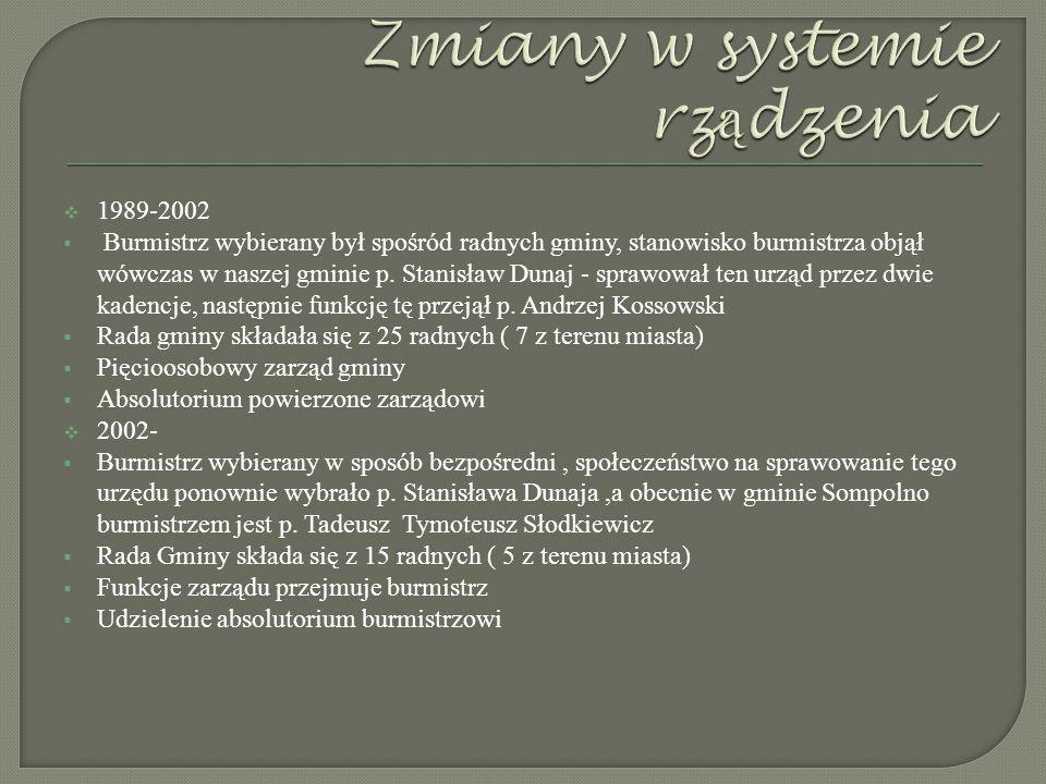  1989-2002  Burmistrz wybierany był spośród radnych gminy, stanowisko burmistrza objął wówczas w naszej gminie p.