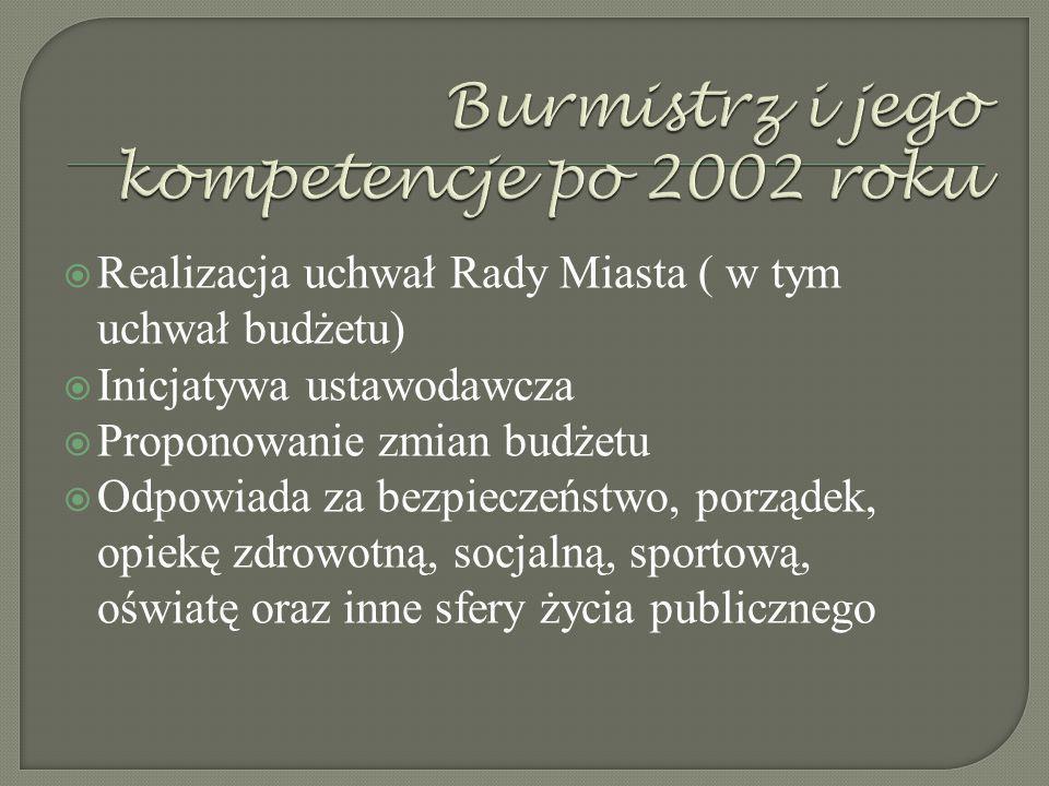  1989-2002  Burmistrz wybierany był spośród radnych gminy, stanowisko burmistrza objął wówczas w naszej gminie p. Stanisław Dunaj - sprawował ten ur