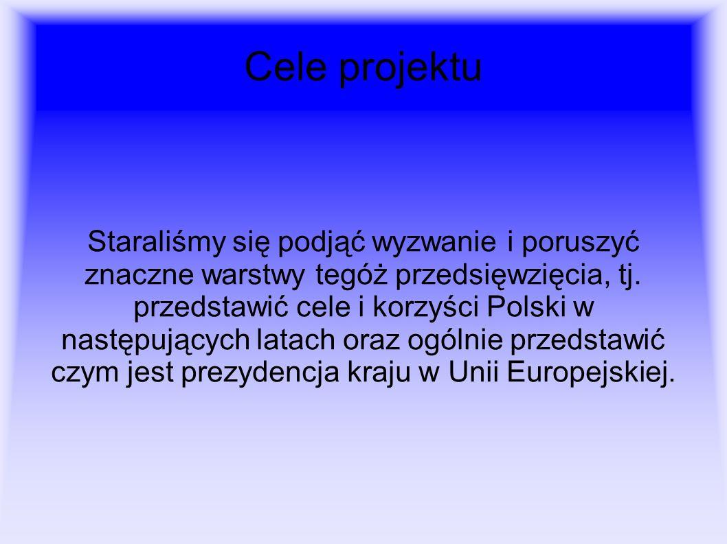 Cele projektu Staraliśmy się podjąć wyzwanie i poruszyć znaczne warstwy tegóż przedsięwzięcia, tj. przedstawić cele i korzyści Polski w następujących