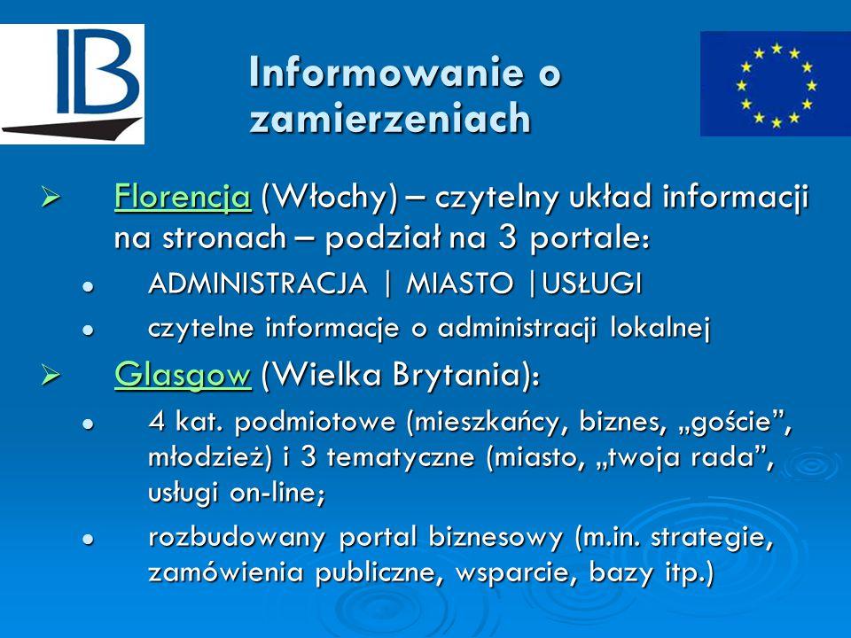 Informowanie o zamierzeniach  Florencja (Włochy) – czytelny układ informacji na stronach – podział na 3 portale: Florencja ADMINISTRACJA | MIASTO |USŁUGI ADMINISTRACJA | MIASTO |USŁUGI czytelne informacje o administracji lokalnej czytelne informacje o administracji lokalnej  Glasgow (Wielka Brytania): Glasgow 4 kat.